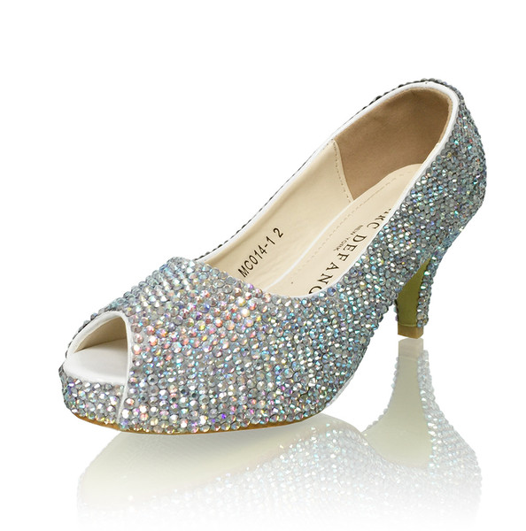 "Tween 2.5"" Heels Crystallized Peep Toe Platform Pumps"