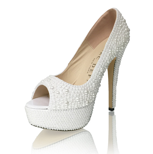 "Off White Pearls 5.5"" High Platform Peep Toes Bridal Pumps"