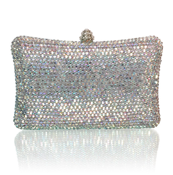 AB Crystals Large Curve Shape Evening clutch (iPhone 7 Plus Friendly)
