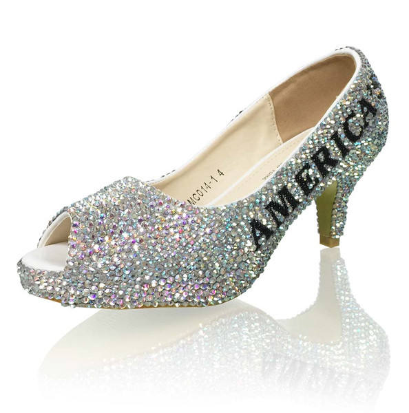 Tween Title Peep Toe Crystal Pumps