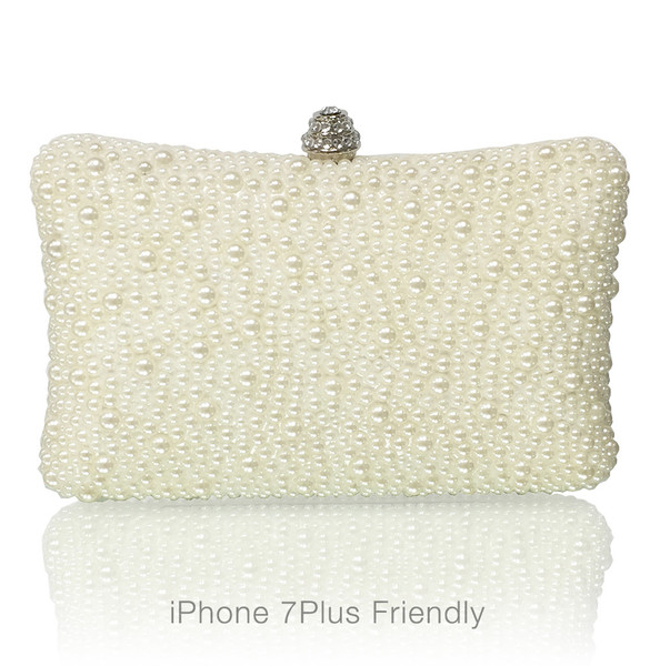 Large Evening Handmade Pearl Clutch (iPhone 7 Plus Friendly)