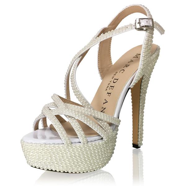 Pearl Embellished Strappy Sandal Heels