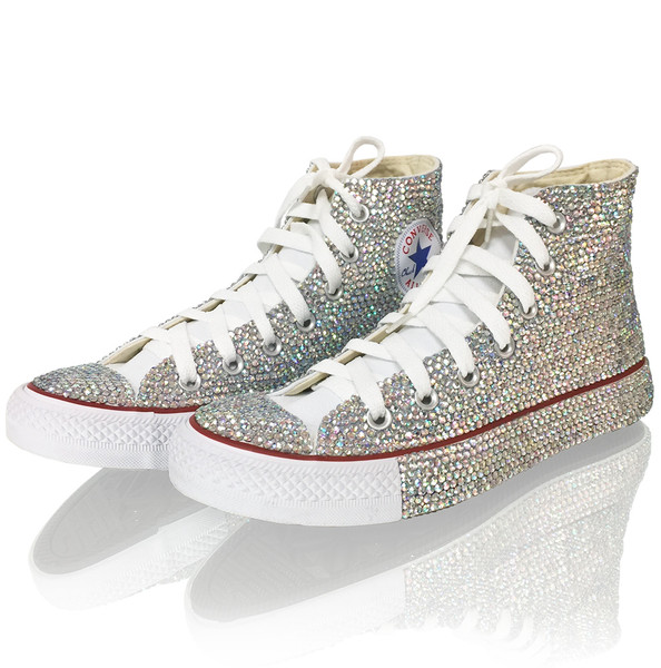 Rhinestone Embellished High Top Sneakers