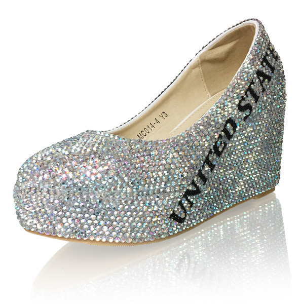 Tween Title Crystal mini platform heeled wedges