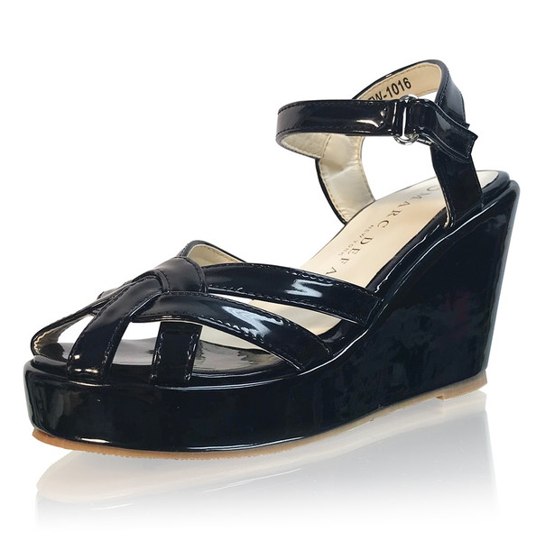GIRLS - Black Strappy Platform Wedges