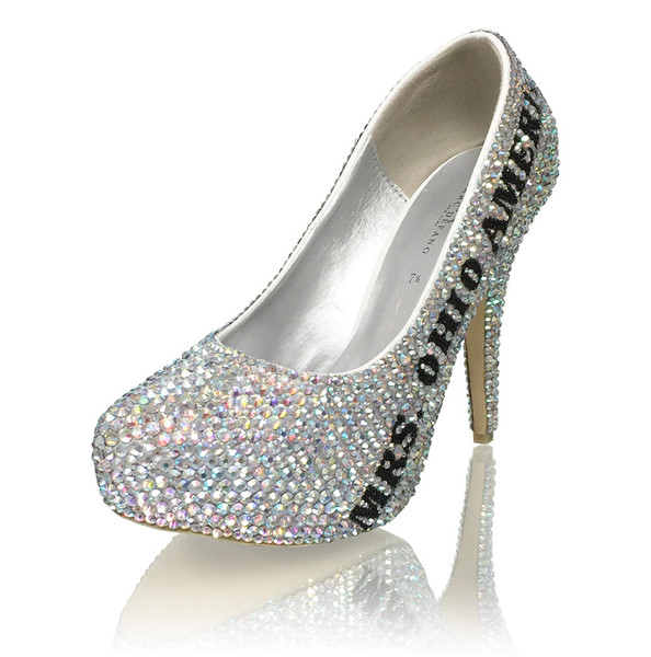 "5"" Closed Toe Crystal Title Heels"