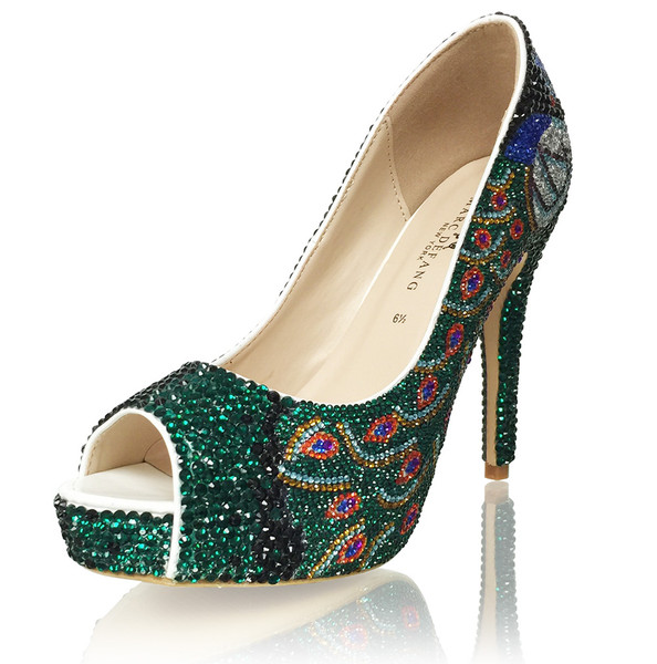 Marc Defang Exclusive Luxury Peacock Bridal Heels