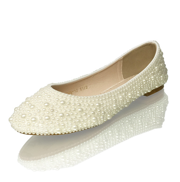 Classic ivory closed toe luxury bridal flats