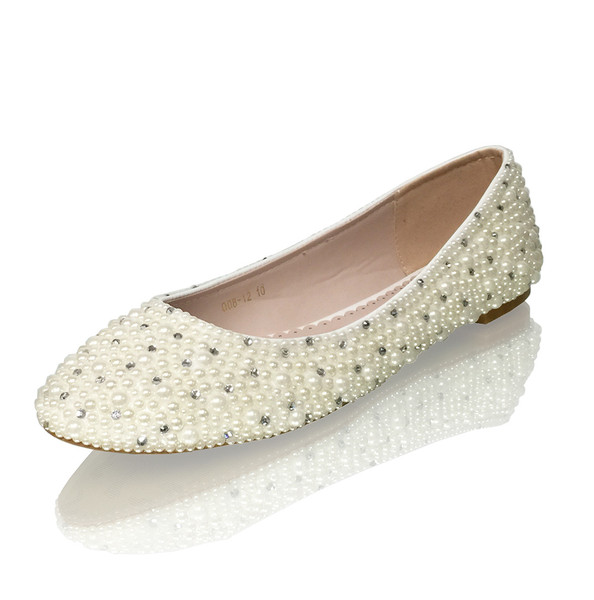 Ivory pearls luxury bridal flats with crystal accents