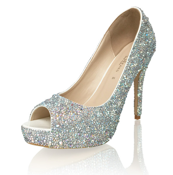 2-5mm Mixed Crystals Luxury Bridal Heels