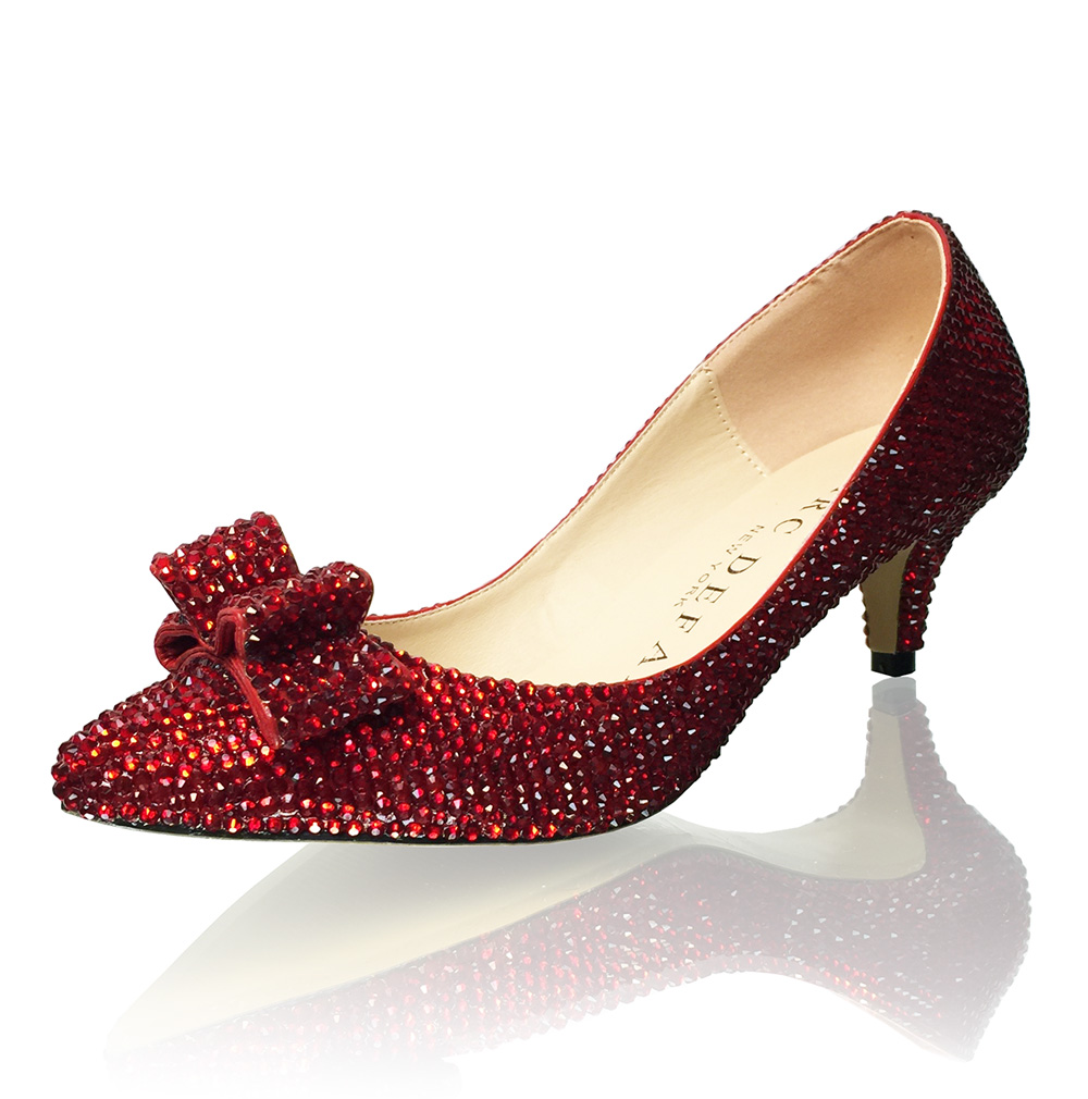 Kitten Heels Dorothy Slippers Ruby Red Crystal Bridal Pumps