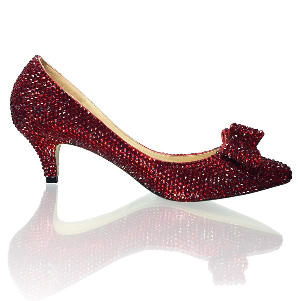 Kitten Heels Dorothy Slippers Ruby Red Crystal Bridal Pumps