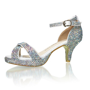 "Crystallized Tween 2.5"" Platform Heels Sparkle Ankle Strap Sandals"
