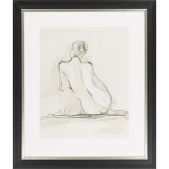 Nude Sitting in Pencil I, Framed
