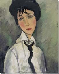 Woman in Black Tie- Modigliani Study  Print on Canvas