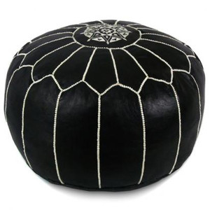 Moroccan Leather Pouf in Black and White