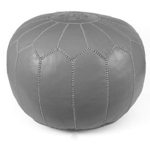 Moroccan Leather Pouf in Grey