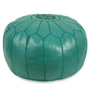 Moroccan Leather Pouf in Teal