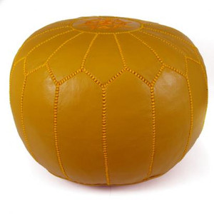 Moroccan Leather Pouf in Mustard