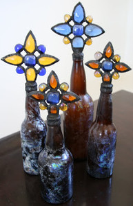 Vintage Crystal Cross Bottles in Blue, Gold and Amber Crystals - set of four