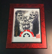 9X12 MARBLEIZED METALLIC RED W/ART BY ALLEN BELLMAN (NOT INCLUDED)