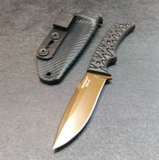BURNT BRONZE WITH CARBON FIBER SCALES AND SHEATH.