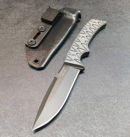 BLACK WITH GREY SCALES AND BLACK RAPTOR SHEATH.
