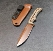BROWN BLADE WITH CAMO SCALES AND BROWN RAPTOR SHEATH