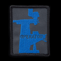 Mill Operator Patch: charcoal background, blue artwork, black border