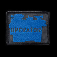 Lathe Operator Patch: charcoal background, blue artwork, black border