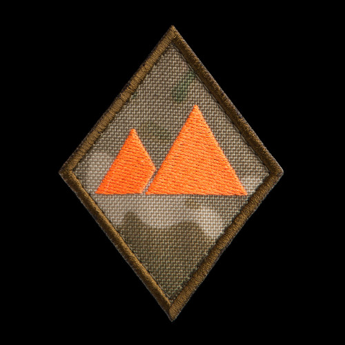 Landscape Specialist Patch: MultiCam background, neon orange artwork, coyote brown border