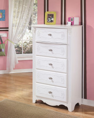Exquisite White Five Drawer Chest