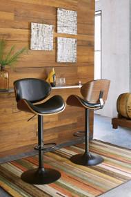 Adjustable Height Contoured Upholstered Swivel Barstool