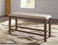 Moriville Gray Double Upholstered Bench