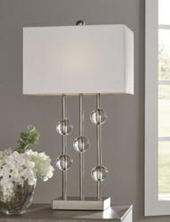 Jaala Clear/Silver Finish Metal Lamp