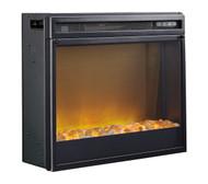 Entertainment Accessories Black Fireplace Insert Glass/Stone