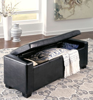Benches Black Upholstered Storage Bench