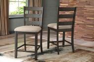 Rokane Light Brown Upholstered Barstool (2/CN)
