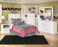 Bostwick Shoals White Dresser, Mirror, Chest & Twin Panel Headboard