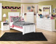 Bostwick Shoals White Dresser, Mirror, Chest, Twin Panel Headboard & 2 Nightstands