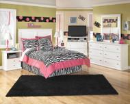 Bostwick Shoals White Dresser, Mirror, Full Panel Headboard & 2 Nightstands