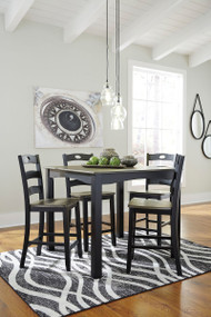 Froshburg Grayish Brown/Black 5 Pc.  Square Counter Height Dining Set