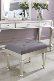 Coralayne Silver Upholstered Stool