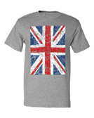Union Jack British Flag T-Shirt, heather grey