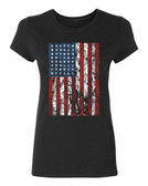 American Flag Ladies T-Shirt, black