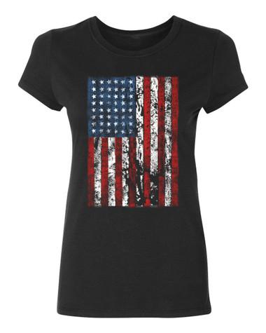 American Flag Ladies T-Shirt, black