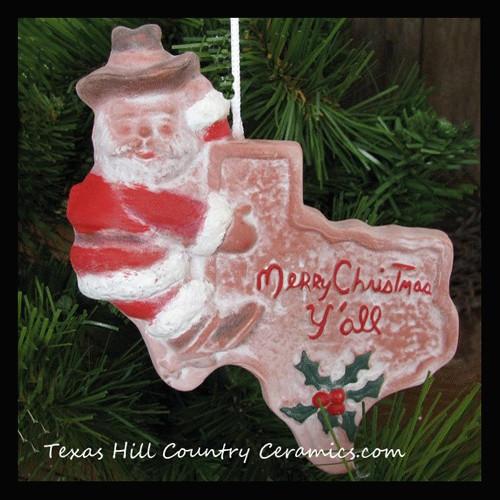 Cowboy Santa Claus Texas shaped Christmas tree ornament, made in USA