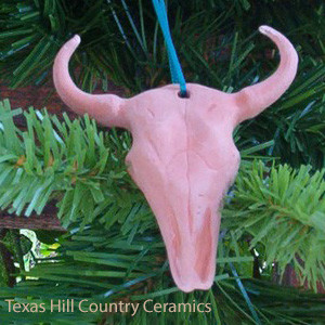 Cow skull with horns ceramic Christmas tree ornament