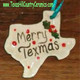 Ceramic Texas shaped Christmas tree ornament made in Texas, USA