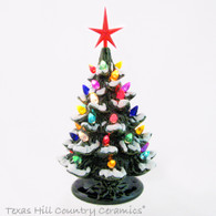 Snowfall at Christmas Ceramic Christmas Tree Color Lights 8 1/2 Inches Tall - Made to Order